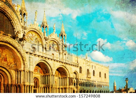 Vintage photo of the basilica di San Marco under interesting clouds, Venice, Italy - stock photo