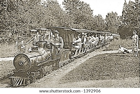 Vintage photo of Tourists On Amusement Park Train - stock photo