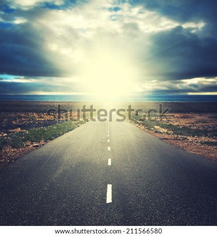 Vintage photo of traffic road in sunset - stock photo