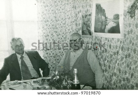 Vintage photo of two elderly men (seventies) - stock photo