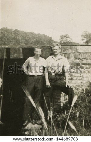 Vintage photo of two men, forties