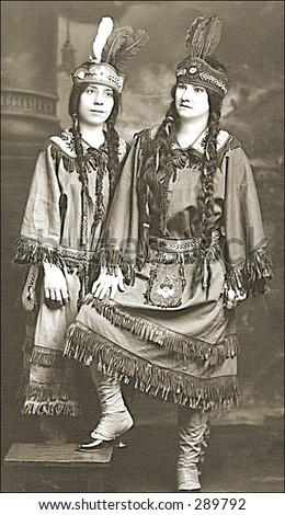 Vintage photo of Two Women In Hollywood Indian Costumes