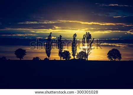 Vintage photo of vibrant sunset over field. Close up of cloudy sky sunset and trees silhouettes.   - stock photo