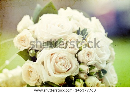 Vintage photo of white wedding bouquet