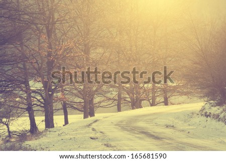 Vintage photo of winter forest road in snowing
