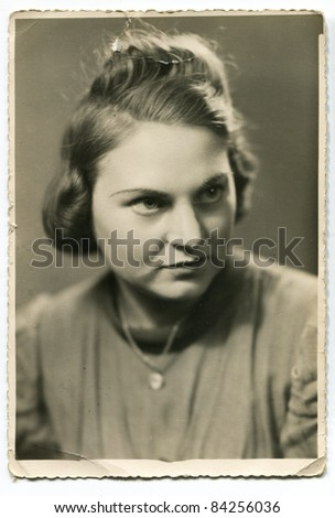 Vintage photo of woman (forties) - stock photo