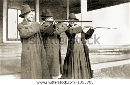 Vintage photo of Women With Rifles Target Shooting - stock photo