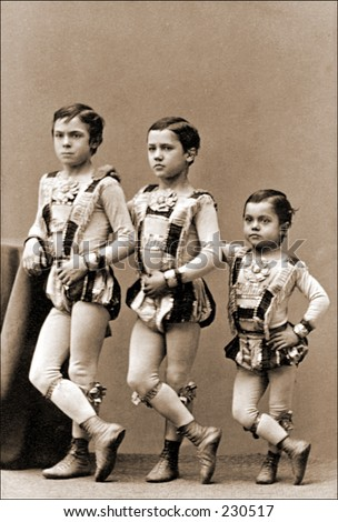 Vintage photo of young circus performers - stock photo