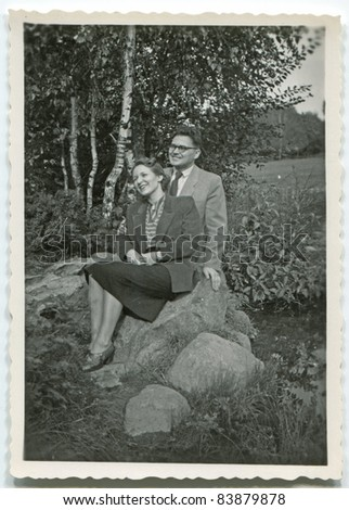 Vintage photo of young couple (fifties)