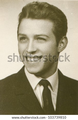 Vintage photo of young man (seventies) - stock photo