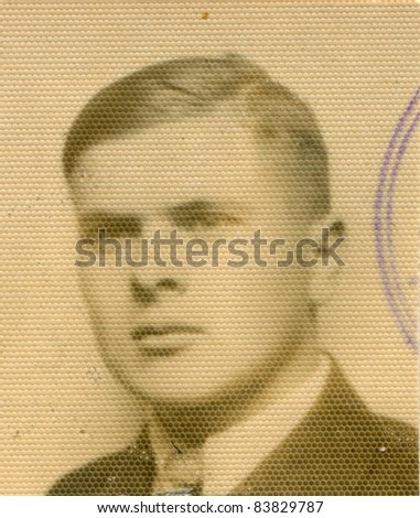 Vintage photo of young man (thirties) - stock photo