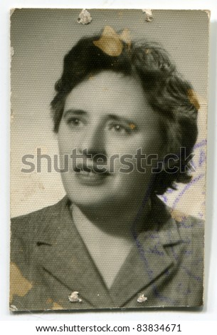 Vintage photo of young  woman (fifties) - stock photo
