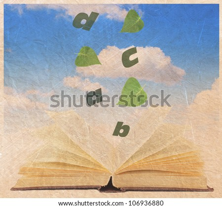 vintage photo old School open book sky blue clouds - stock photo