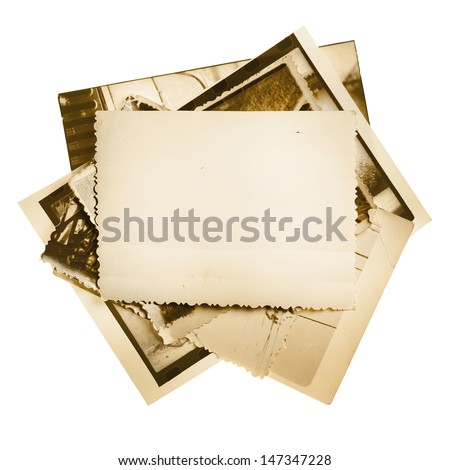 Vintage photo stack isolated on white - stock photo