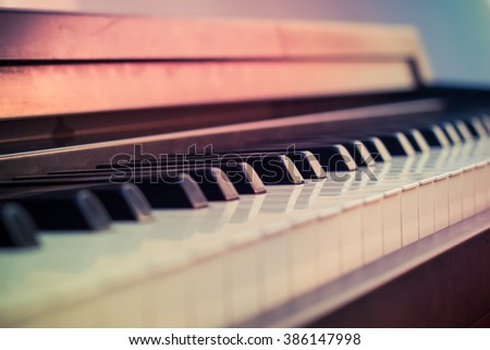 Vintage piano close up blur background and foreground.selective focus, Soft focus  - stock photo