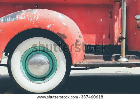 Vintage Pick-up Truck Side Rear View Wheel - stock photo