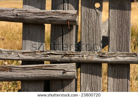 Vintage picket fence detail - stock photo