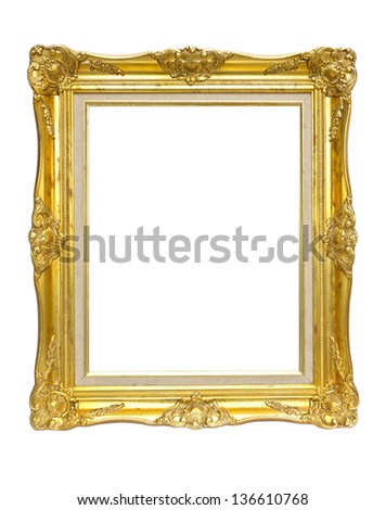 vintage picture frame, gold plated, white background - stock photo