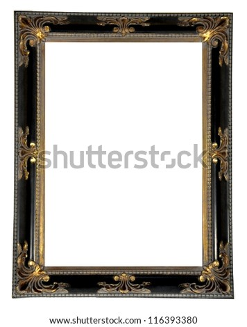 Vintage picture frame, isolated - stock photo