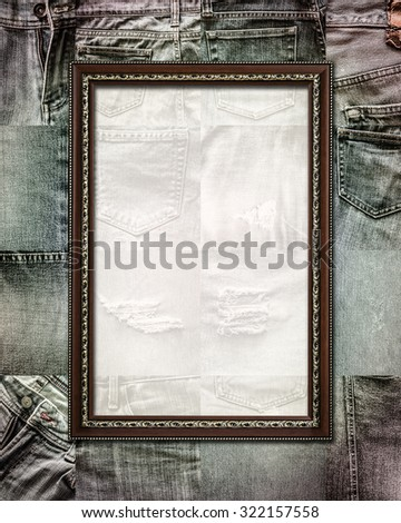 Vintage picture frame on collage set of jeans background