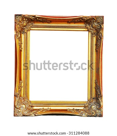 Vintage picture frame on white background.