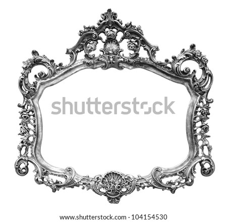 Vintage picture frame over white background , clipping path - stock photo