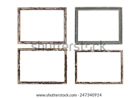 Vintage picture frame wood and old, white background, clipping path included - stock photo