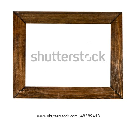 Vintage picture frame, wood plated, white background, clipping path included - stock photo