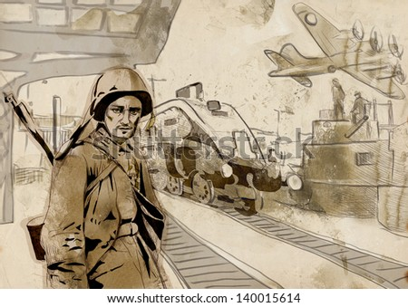 Vintage picture from the series: World between 1905-1949 /// Operation Overlord - The Western Allies - Soldier at the railway station /// Full sized hand drawing (original, old paper background) - stock photo