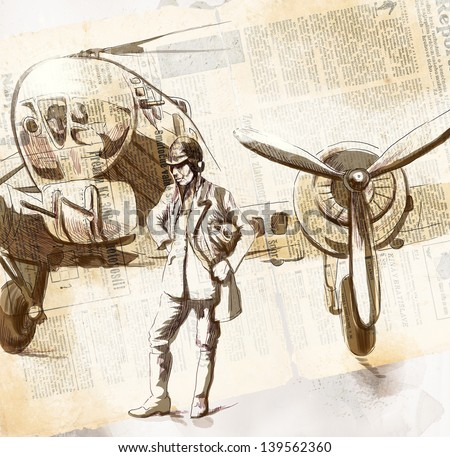 Vintage picture from the series: World between 1905-1949 /// Pilot aircraft - bomber, stands in front of his machine /// Full sized hand drawing (original, with old newspapers background) - stock photo