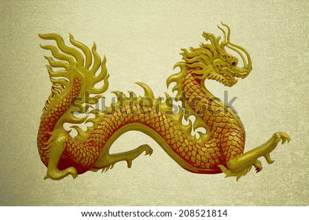 vintage picture golden and red Chinese dragon on isolate background