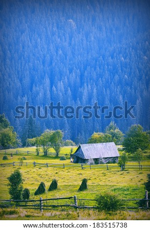 Vintage picture. Lonely wooden house in a mountain forest - stock photo
