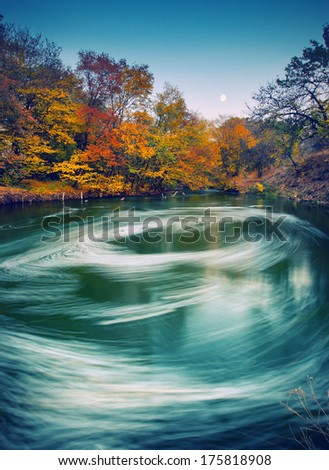 Vintage picture. Moonrise over the Autumn river with whirlpool - stock photo