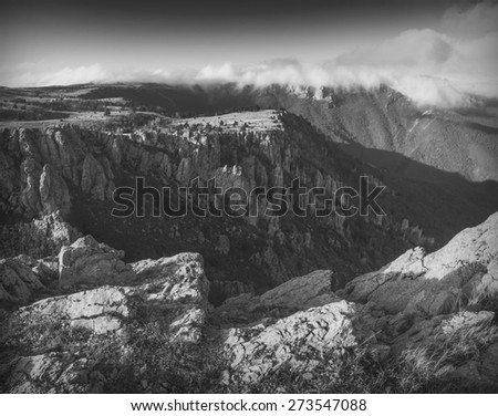 Vintage picture of Crimea mountain valley.Black and white