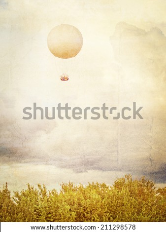 Vintage picture of Tethered aerostat balloon. Place for text. - stock photo