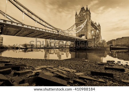 Vintage Picture of Tower Bridge during low tide in London, England - stock photo
