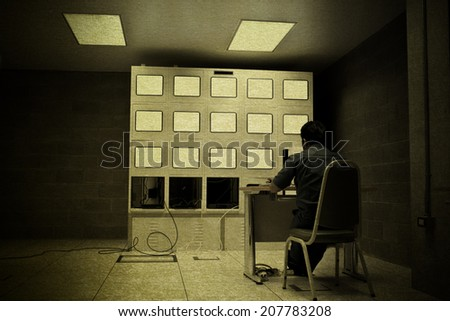 vintage picture office control room subways security technology monitor - stock photo