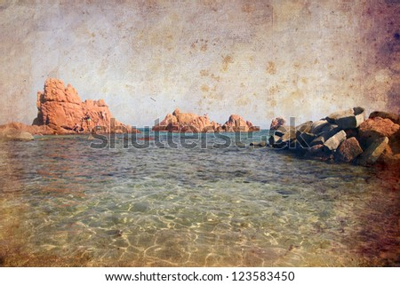 Vintage pictures of seaside and Arbatax rocks in Sardinia, Italy.