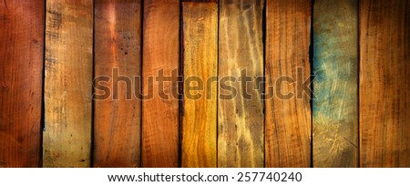 Vintage pieces of wood aligned background. Wide format. - stock photo