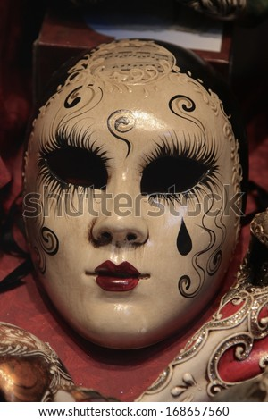 vintage Pierrot venetian mask - stock photo