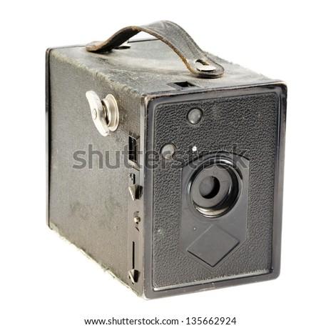 Vintage pinhole camera isolated on white background. - stock photo