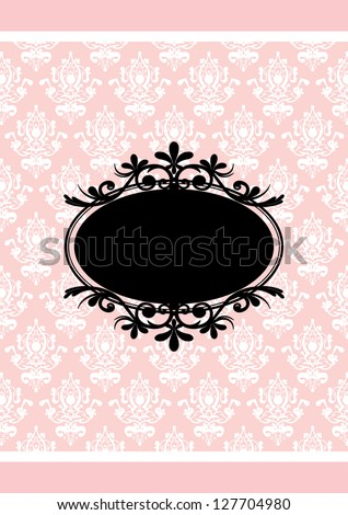 Vintage pink and black frame - stock photo