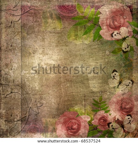 Vintage pink and green background with  roses ( 1 of set) - stock photo