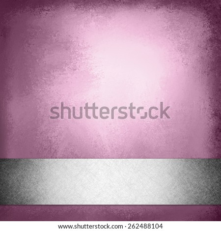 vintage pink background with silver gray ribbon trim on bottom border, elegant fancy layout template design, pink brochure or web design with footer bar or stripe with faint shadow effect - stock photo
