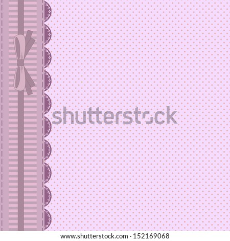 vintage pink card with polka dots background, vertical lace and copy space, for invitation or greeting card, raster version of vector illustration