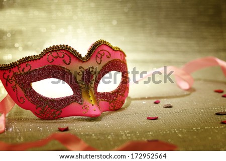 Vintage pink carnival mask  - stock photo