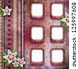 Vintage pink photo frames with flowers - stock photo