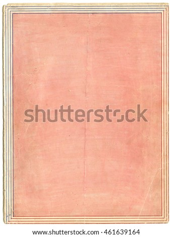 Vintage pink printed paper with red and blue lined border