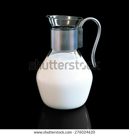 Vintage pitcher full of milk on black background with reflection. - stock photo