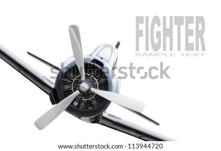Vintage plane on a white background. Retro technology background. - stock photo